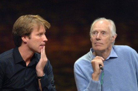 """In this photo provided by the Las Vegas Convention and Visitors Authority, Giles Martin, left, and Sir George Martin reflect on the music of The Beatles at a media sneak preview of The Beatles """"LOVE"""" presented by Cirque du Soleil at the Mirage Hotel in Las Vegas, Wednesday, May 24, 2006. (AP Photo/Las Vegas Convention and Visitors Authority, Darrin Bush) ** NO SALES **"""