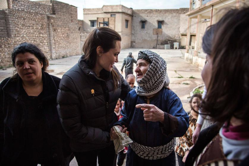 UNHCR Special Envoy Angelina Jolie meets displaced Iraqis who are members of the minority Christian community, living in an abandoned school in Al Qosh